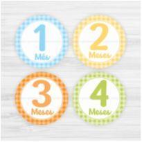 Adesivos Mesversário 1-12 Meses Bebê Xadrez Manino -  - Não informada