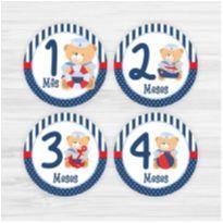 Adesivos Mesversário 1-12 Meses Bebê Ursinho Marinheiro -  - Não informada