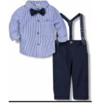 Conjunto infantil menino calça camisa e suspensório