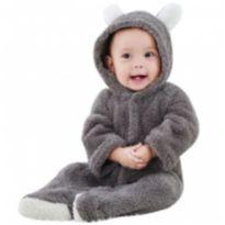Macacão Ursinho bebê Cinza nverno Quentinho - Recém Nascido - Importado