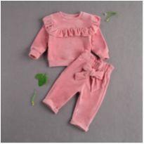 Conjunto infantil menina Rosa inverno - 6 a 9 meses - Importado