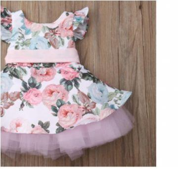 Vestido Bebê menina estampado de festa infantil - 6 a 9 meses - Importado