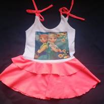 Vestido infantil Frozen cor rosa com branca - 6 a 9 meses - Não informada