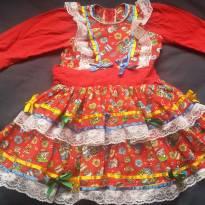 Vestido Vermelho Festa Junina Infantil Menina Caipira - 2 anos - Nacional