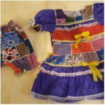 Vestido Caipira estampado com laços, renda e pedrinhas + shortinho tamanho 3 - 3 anos - Não informada