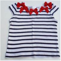 Camiseta menina Gymboree listrada e laços tam. 18 meses - 12 a 18 meses - Gymboree
