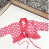 Casaco infantil em tricô rosa coração tam. 2 - 18 a 24 meses - Não informada