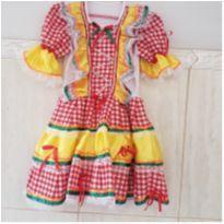 Vestido Caipira estampado com enfeites de aplique pedrinhas coloridas, laços - 4 anos - Não informada