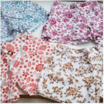 Lote 4 shorts infantis floridos Tam G - 5 anos - Não informada