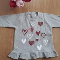 Blusa Coração de moletom quentinho e macio - 3 a 6 meses - Tilly Baby