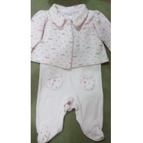 Macacão Rosa com bolero - 0 a 3 meses - Empório Baby & Kids