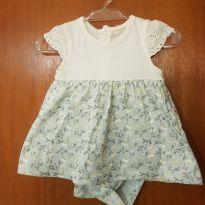 Vestido/body florido - 0 a 3 meses - Baby Way
