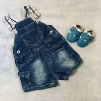 Jardineira/Macacão Jeans 3 a 6 meses - 3 a 6 meses - Baby Club