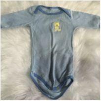 Body azul listrado ficar em casa - 6 a 9 meses - sem etiqueta