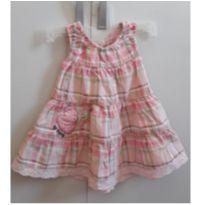 Vestido para bebê xadrez rosa - 3 a 6 meses - Up Baby