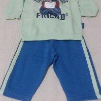 Conjunto de moleton Bebê Menino - Cor Verde/Azul - Tam 0 a 3 meses - 0 a 3 meses - Alakazoo!