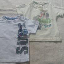 2 Camisetinhas Bebê Menino Em Malha TIP TOP - Cores Branca  e Bege - Tam M - 3 a 6 meses - Tip Top