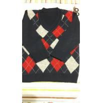 Suéter de Lã - Azul, Vermelho e Branco - Tam 2