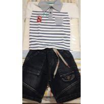Conjunto Infantil de Camiseta Polo e Bermuda jeans - Tam 2 - 2 anos - Serelepe