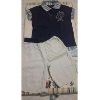 Conjunto de Camisa Polo e Bermuda em Sarja - TAM 2 - 2 anos - Não informada