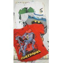 3 Camisetas Infantis Super-Heróis - Tam 2 - 2 anos - Várias