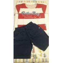 Conjunto de Camiseta e Bermuda em Sarja - TAM 2 - 2 anos - Não informada