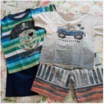 2 conjuntos menino shorts e camiseta tam 2 - 2 anos - Kyly