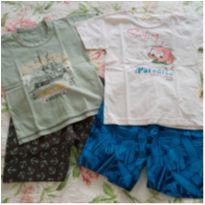 2 conjuntos menino shorts e camiseta tam 3 - 3 anos - TURMA DA MONICA