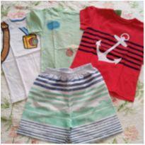 3 camisetas e 1 shorts menino tam 3 - 3 anos - Variada