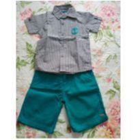 conjunto menino camisa e bermuda sarja tam 3 - novo - 3 anos - Trick