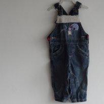 macacão jeans pingüim - 6 meses - Clube do Doce