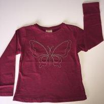 Camiseta Zara Manga Longa Borboleta Vinho - 2 anos - Zara Baby