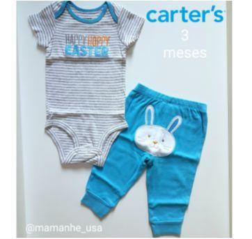 Conjunto body calça Coelhinho - Carters - 3 meses - Carter`s