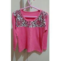 Blusa manga longa rosa com oncinha - 4 anos - Sem marca