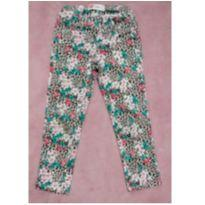 Calça sarja oncinha com floral - 6 anos - marisa