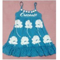 Vestido azul flores e pompom - 3 anos - Importado