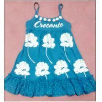 Vestido azul flores e pompom - 3 anos - M Kids
