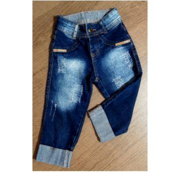 Calça jeans capri com aplicações - 4 anos - Jeans