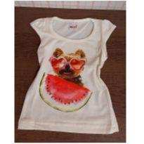T shirt fofa cachorro com melancia - 1 ano - Kidstok