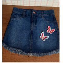 Saia jeans linda borboletas em alto relevo - 10 anos - Yeaqp