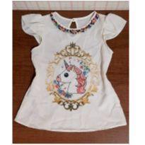 Blusa unicórnio com pérolas linda - 6 anos - Juju Baby