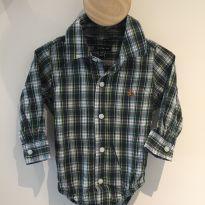 Body Camisa Xadrez Baby Gap - 6 a 9 meses - Baby Gap