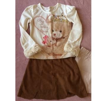 Conjunto montado blusa Gabriela Aquela + saia suede Renner - 4 anos - Gabriela Aquarela