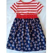 Vestido azul, vermelho e branco - 4 anos - Healthtex