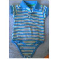 Body manga curta polo listrado - 3 a 6 meses - Baby Way