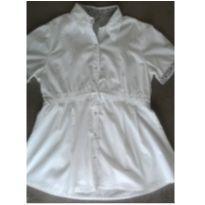 Camisa gestante branco com detalhe estampado em preto na manga - M - 40 - 42 - d Rafa moda gestante