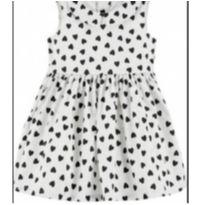Vestido Branco com corações pretos - 9 a 12 meses - Carter`s