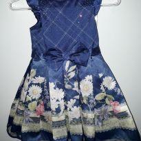 Vestido de festa azul marinho - 12 a 18 meses - Petit Cherie