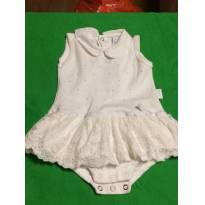 vestido body branco - com renda e strass - ideal para reveillon - 3 a 6 meses - Baby fashion