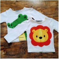 Kit 2 Camisetas Infantis Estampa Manga Longa P - 0 a 3 meses - Não informada